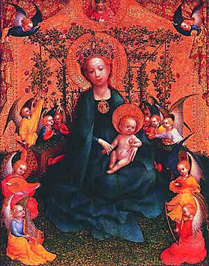 Стефан Лохнер. Мадонна в беседке из роз. 1440