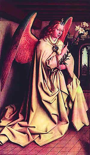 Ян ван Эйк. Гентмский алтарь. Створка с Архангелом Гавриилом. 1432