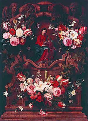 Даниэль Сегерс. Цветочный венок с Мадонной и младенцем. Музей изобразительного искусства, Гент