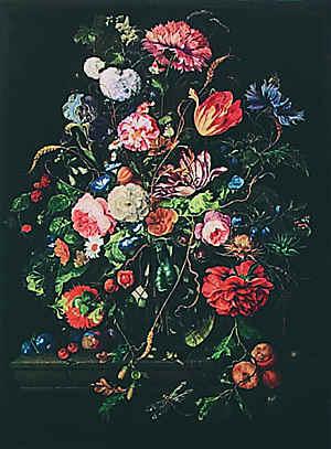 Ян Давидс де Хем. Букет цветов в стеклянной вазе. Галерея искусств, Дрезден