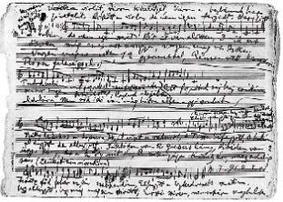 Страница из тетради Б. Бартока с записью народной песни «Черна земля, бел мой платочек»