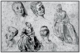 Антуан ватто зарисовка 1710 е сангина