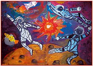 Космос коллективная работа 4 го кл